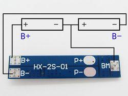 Контроллер HX-2S-01 заряда-разряда для Li-ion батарей, 2 ячейки, до 3А