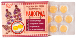 Россия Живичные леденцы «Радоград» с шалфеем обладают противовоспалительными, противомикробными, дезинфицирующими и антисептическими свойствами. В их составе – только натуральные ингредиенты: живица (смола) кедра, кедровое масло, прополис, экстракт шалфея и вита
