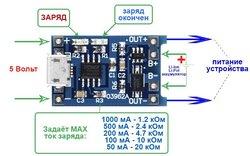 Модуль для зарядки Li-ion аккумуляторов. Вход micro USB 4,5-5,5в. Выход 4,2в., встроенная защита